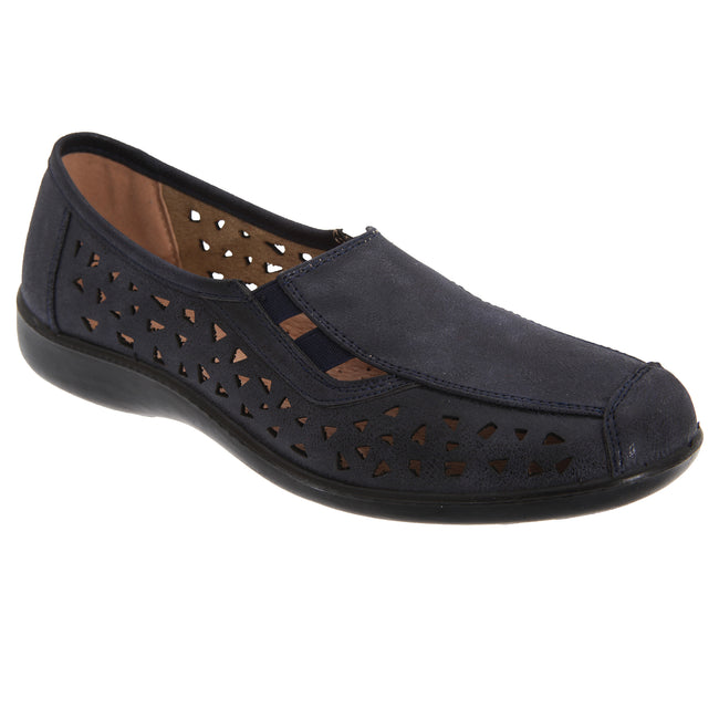 Navy Blue - Front - Boulevard Womens-Ladies Side Gusset Summer Casual Shoes