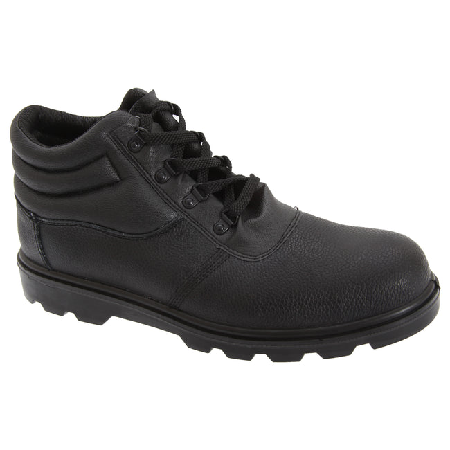 Black - Front - Grafters Mens Grain Leather Treaded Safety Toe Cap Boots