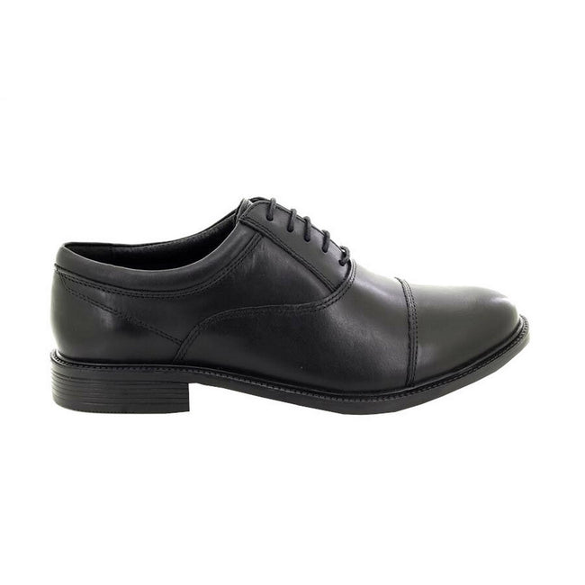 Black - Back - Roamers Mens Fuller Fitting Capped Leather Oxford Shoes