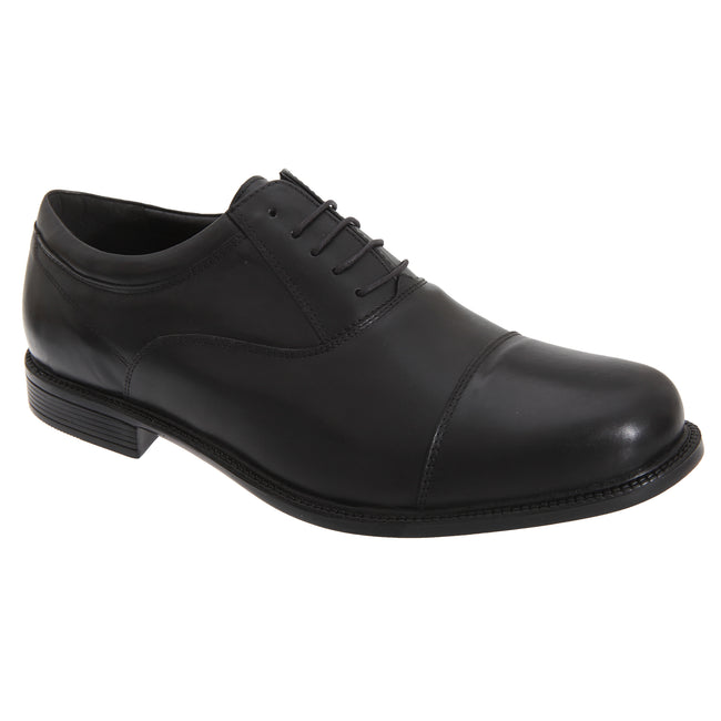 Black - Front - Roamers Mens Fuller Fitting Capped Leather Oxford Shoes