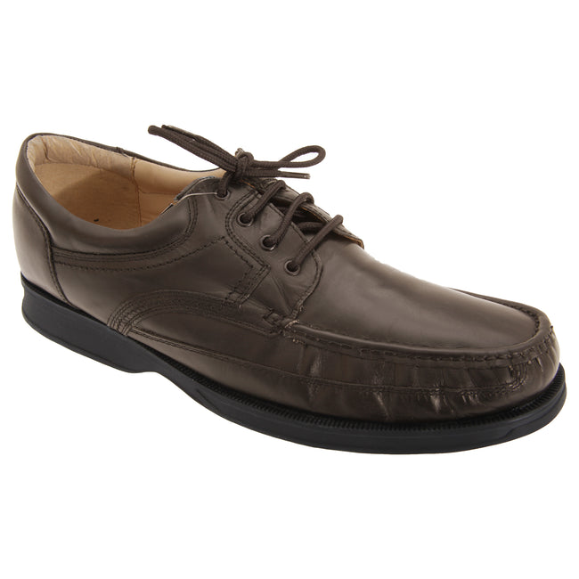Brown - Front - Roamers Mens Canoe Front Apron Tie Softie Leather Shoes