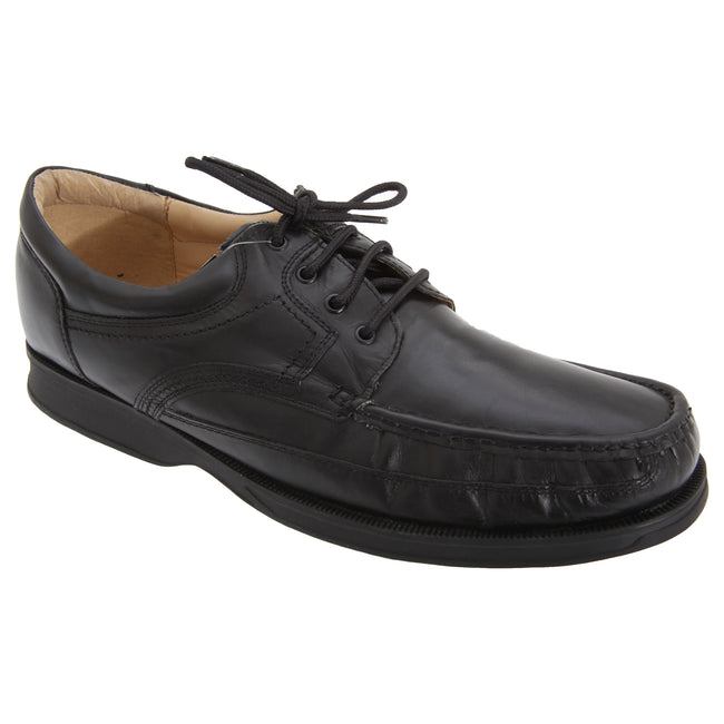 Black - Front - Roamers Mens Canoe Front Apron Tie Softie Leather Shoes