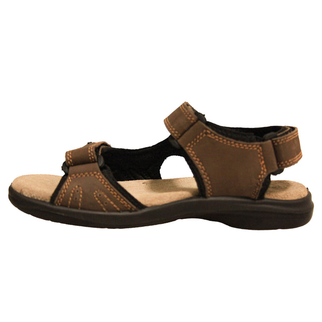 Brown - Back - Roamers Mens 3 Touch Fastening Padded Sports Sandals