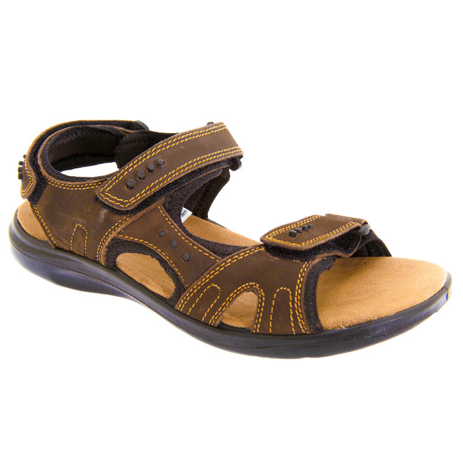 Brown - Front - Roamers Mens 3 Touch Fastening Padded Sports Sandals