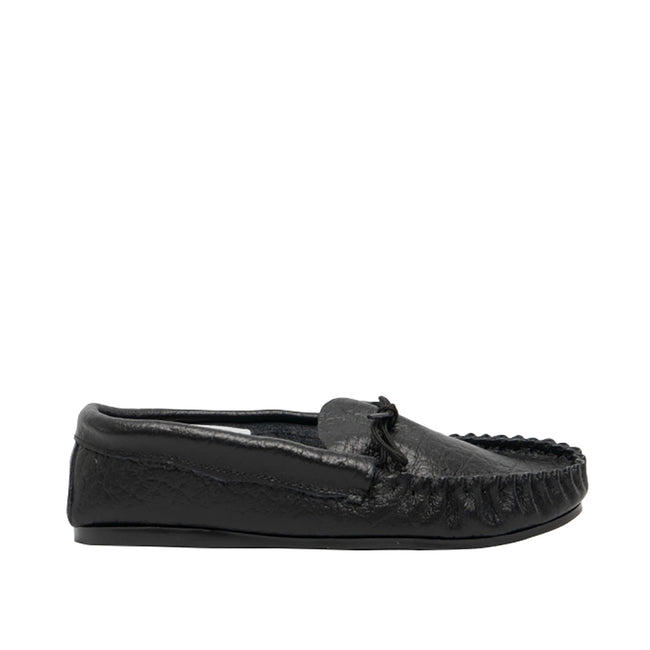 Black - Back - Mokkers Mens Gordon Softie Leather Moccasin Slippers