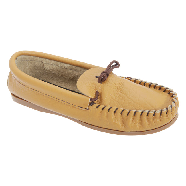 Tan - Front - Mokkers Mens Gordon Softie Leather Moccasin Slippers
