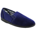 Navy Blue - Front - Sleepers Mens Simon Plain Gusset Velour Slippers