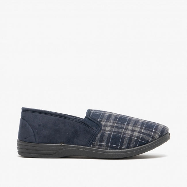 Navy Blue-Check - Back - Zedzzz Mens Harley Check Felt Gusset Slippers