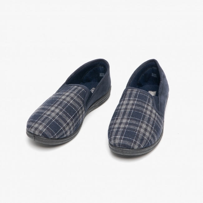 Navy Blue-Check - Side - Zedzzz Mens Harley Check Felt Gusset Slippers