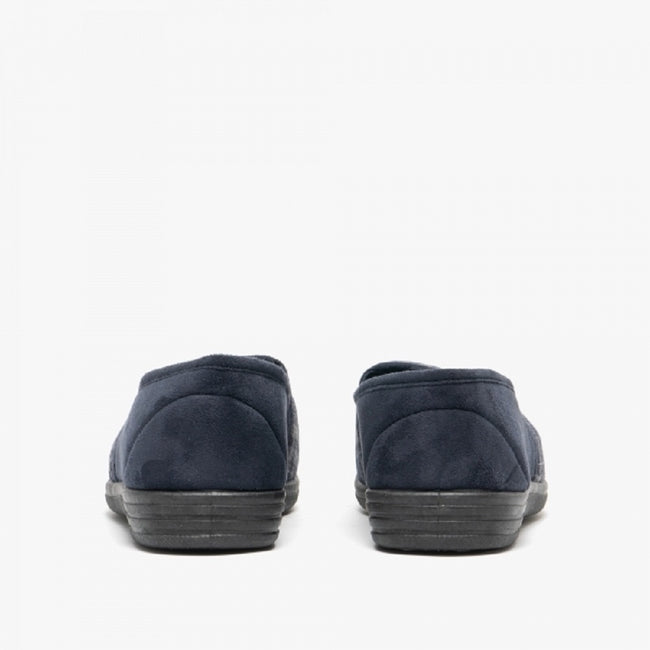 Navy Blue-Check - Lifestyle - Zedzzz Mens Harley Check Felt Gusset Slippers