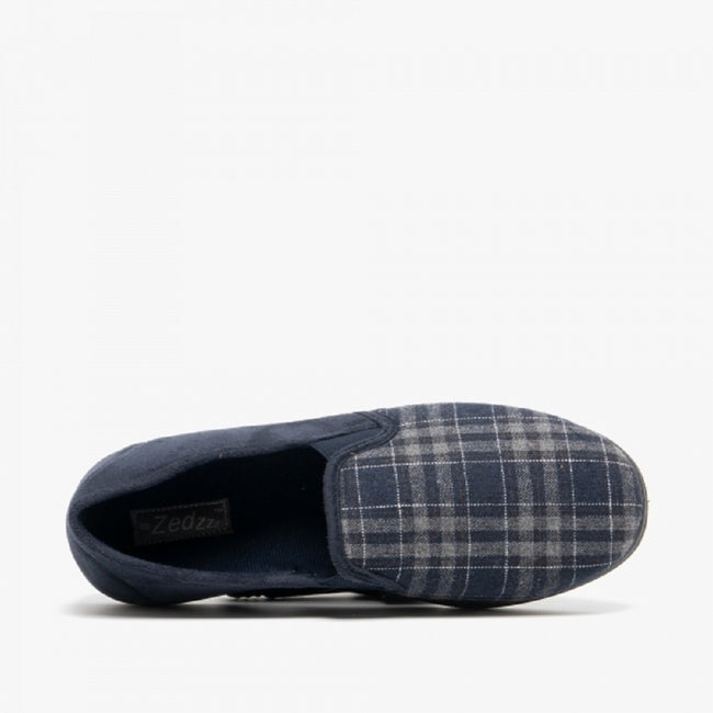 Navy Blue-Check - Pack Shot - Zedzzz Mens Harley Check Felt Gusset Slippers