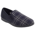 Navy Blue-Check - Front - Zedzzz Mens Harley Check Felt Gusset Slippers