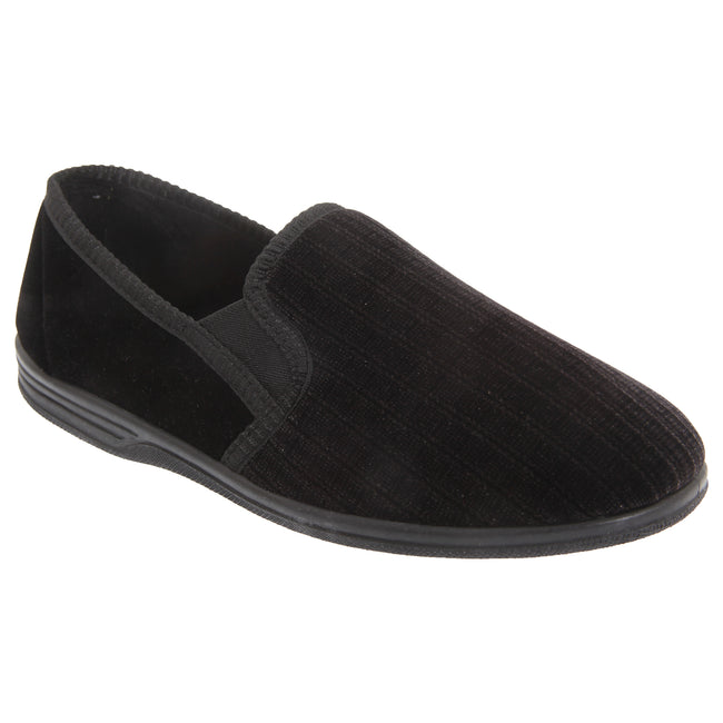 Black - Front - Zedzzz Mens Richard Striped Twin Gusset Velour Slippers