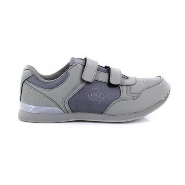 Grey - Front - Dek Mens Drive Touch Fastening Trainer-Style Bowling Shoes