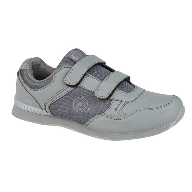 White-Grey - Front - Dek Mens Drive Touch Fastening Trainer-Style Bowling Shoes