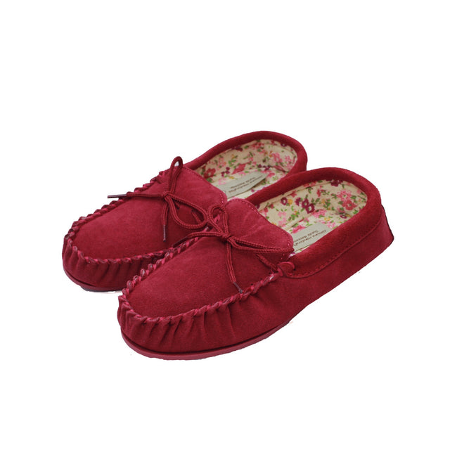 Crimson - Back - Eastern Counties Leather Womens-Ladies Fabric Lined Moccasins