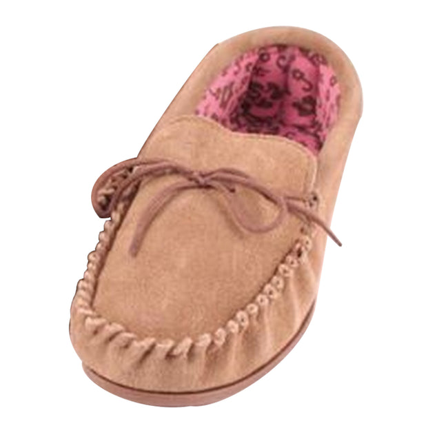 Camel - Front - Eastern Counties Leather Womens-Ladies Fabric Lined Moccasins