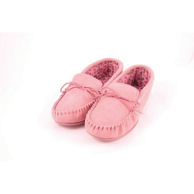 Pink - Back - Eastern Counties Leather Womens-Ladies Fabric Lined Moccasins