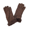 Coffee - Front - Eastern Counties Leather Womens-Ladies Long Cuff Sheepskin Gloves