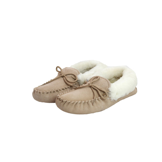 Camel - Back - Eastern Counties Leather Womens-Ladies Soft Sole Sheepskin Moccasins