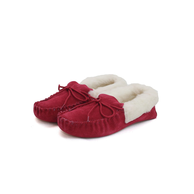 Crimson - Back - Eastern Counties Leather Womens-Ladies Soft Sole Wool Lined Moccasins