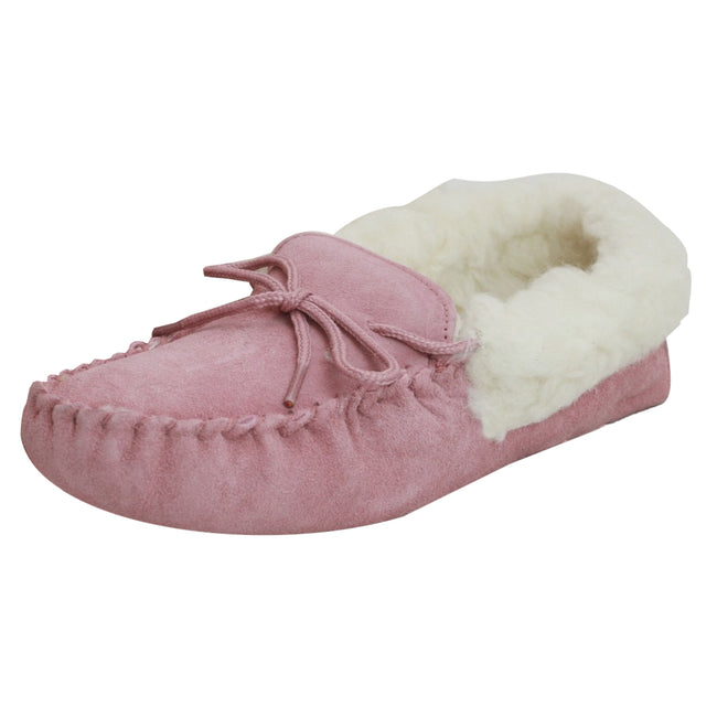 Pink - Front - Eastern Counties Leather Womens-Ladies Soft Sole Wool Lined Moccasins