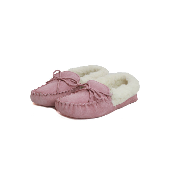 Pink - Back - Eastern Counties Leather Womens-Ladies Soft Sole Wool Lined Moccasins