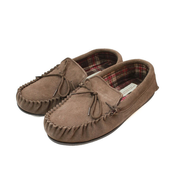 Taupe - Front - Eastern Counties Leather Mens Fabric Lined Moccasins