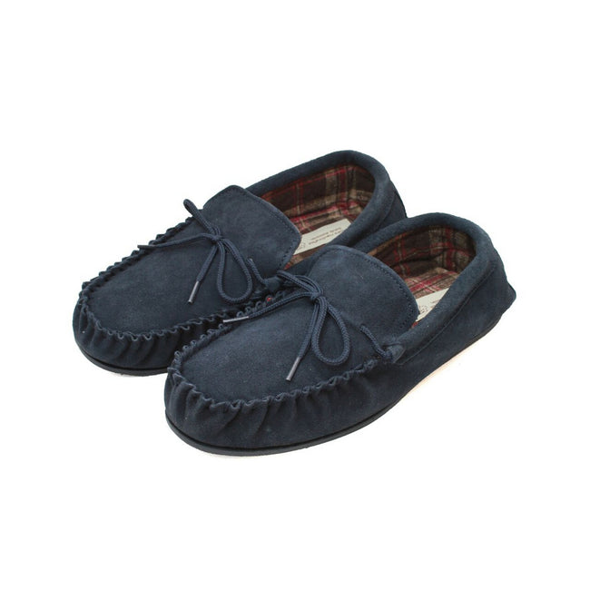 Navy - Front - Eastern Counties Leather Mens Fabric Lined Moccasins