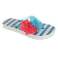 Blue - Front - Childrens Girls Striped Flip-Flops With 3D Flower Detail