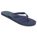 Navy - Front - Sand Rocks Mens Toe Post Striped Flip Flops