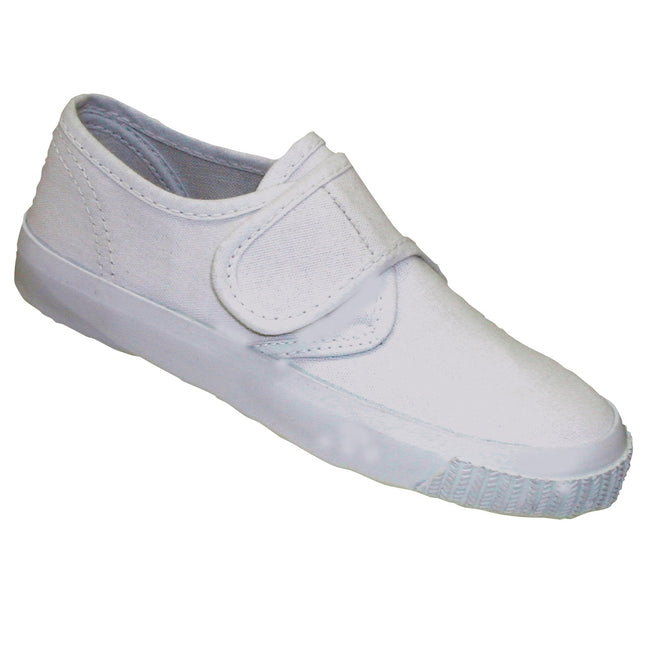 White - Side - Mirak Plimsolls (BOXED) - Boys-Girls Trainers - Unisex Plimsolls