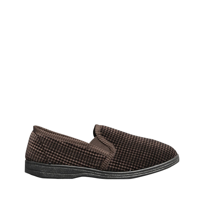 BROWN - Back - Mirak Highbury Slip-On Slipper - Mens Slippers