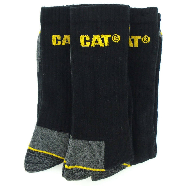 Black - Back - Caterpillar Crew Work Sock - 3 Pair Pack - Mens Socks