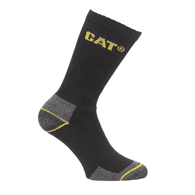 Black - Front - Caterpillar Crew Work Sock - 3 Pair Pack - Mens Socks