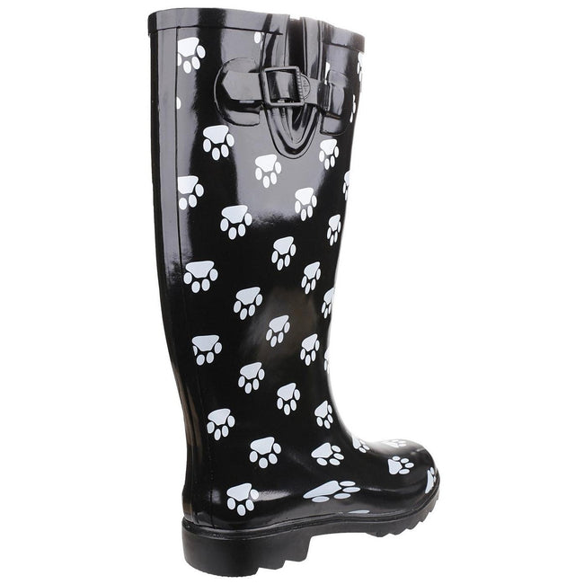Black - Pack Shot - Cotswold Collection Dog Paw Welly - Womens Boots
