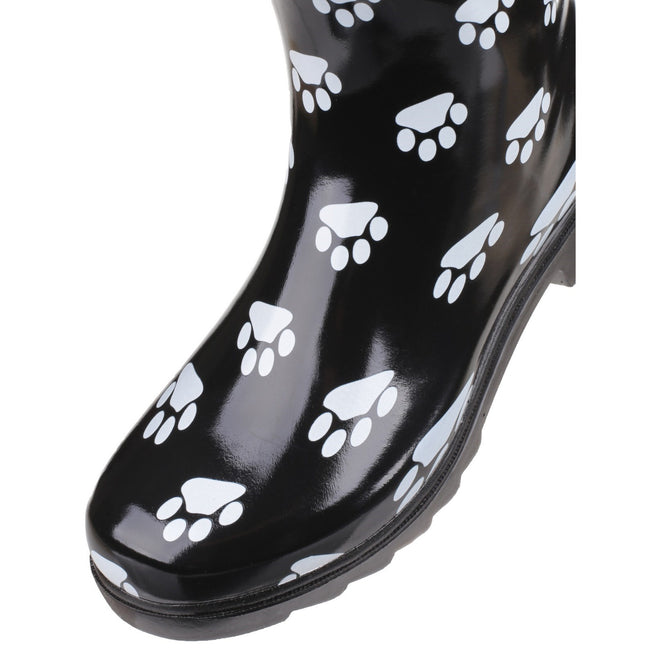 Black - Close up - Cotswold Collection Dog Paw Welly - Womens Boots
