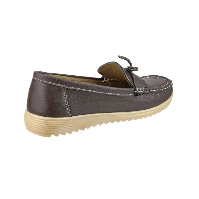 Brown - Side - Amblers Elba Ladies Summer Shoe - Womens Shoes