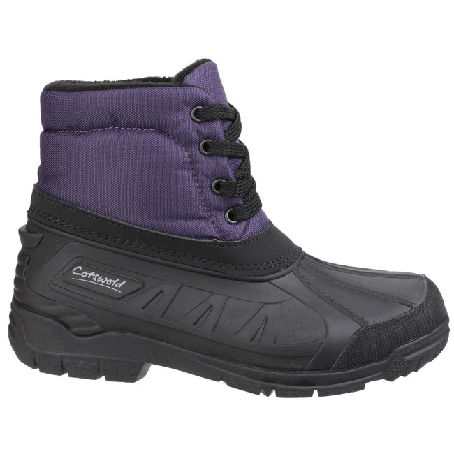 Purple - Back - Cotswold Womens-Ladies Leoni Lace Up Wellington Boots