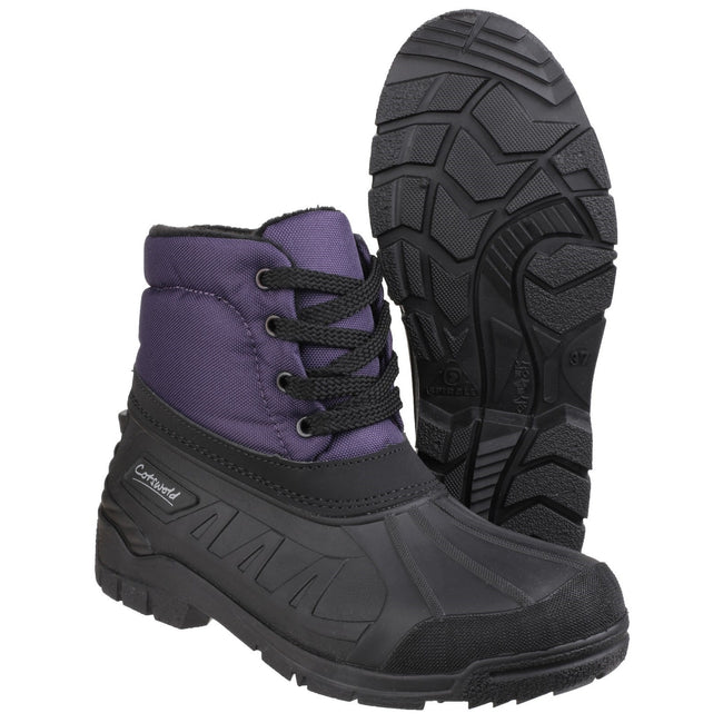 Purple - Pack Shot - Cotswold Womens-Ladies Leoni Lace Up Wellington Boots