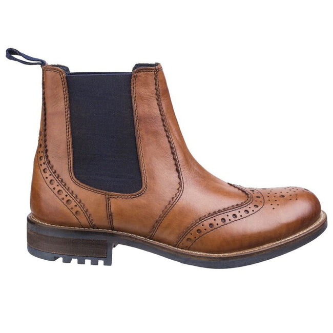 Tan - Back - Cotswold Mens Cirencester Chelsea Brogue Shoes