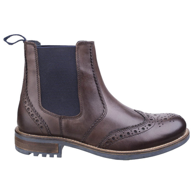 Brown - Back - Cotswold Mens Cirencester Chelsea Brogue Shoes