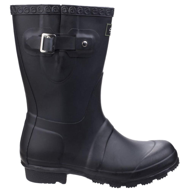 Black - Back - Cotswold Womens-Ladies Windsor Short Waterproof Pull On Wellington Boots