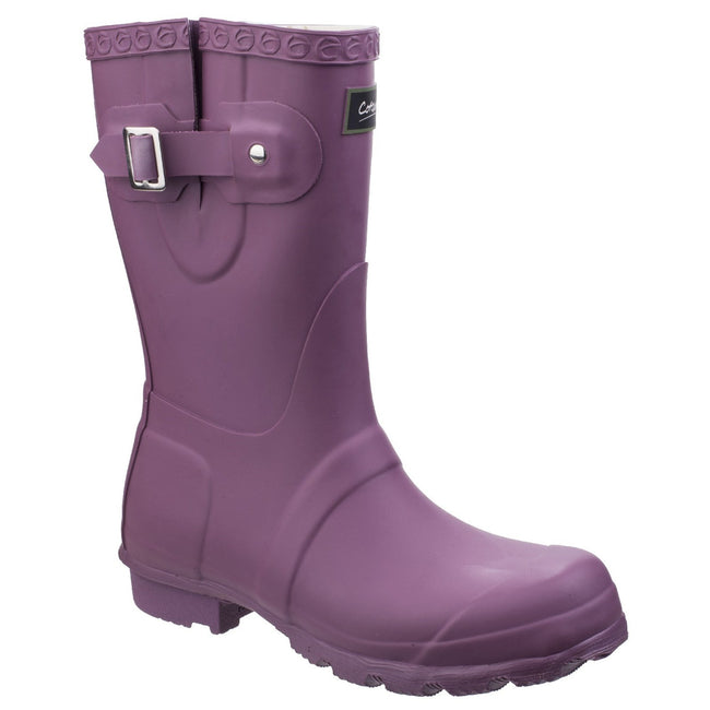 Purple - Front - Cotswold Womens-Ladies Windsor Short Waterproof Pull On Wellington Boots