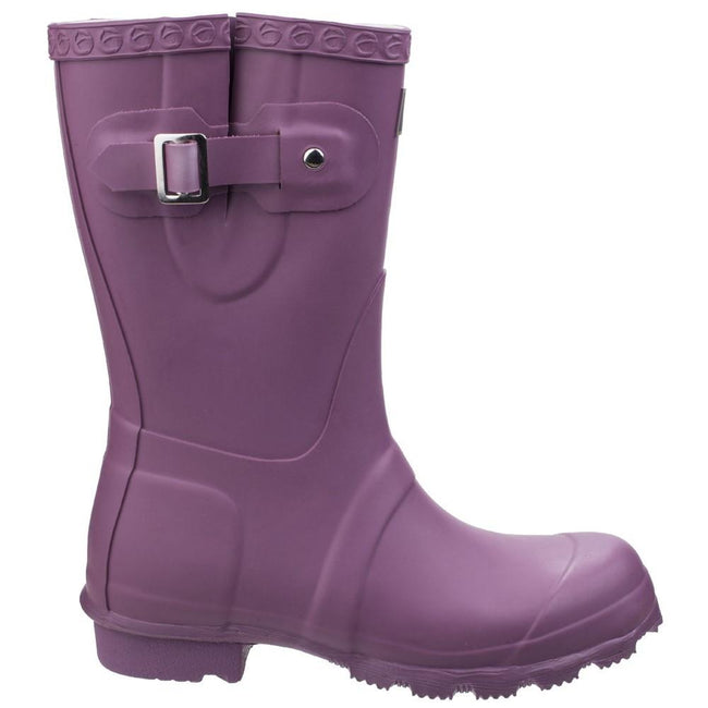 Purple - Back - Cotswold Womens-Ladies Windsor Short Waterproof Pull On Wellington Boots