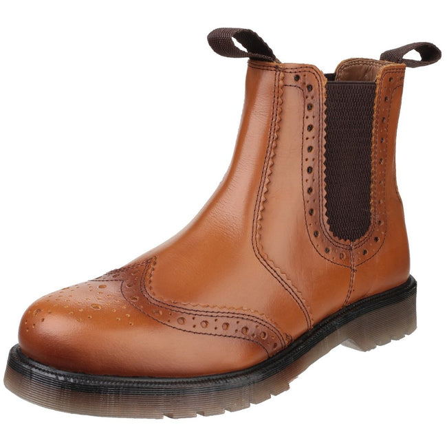 Tan - Close up - Amblers Mens Dalby Pull On Brogue Boots