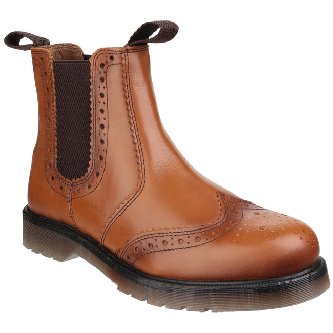 Tan - Front - Amblers Mens Dalby Pull On Brogue Boots