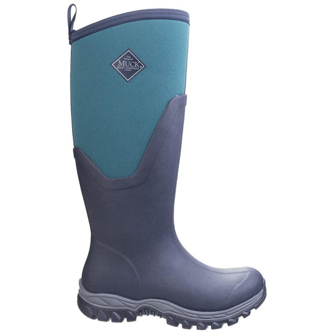 Navy-Spruce - Back - Muck Boots Womens-Ladies Arctic Sport Tall II Pull On Wellington Boots