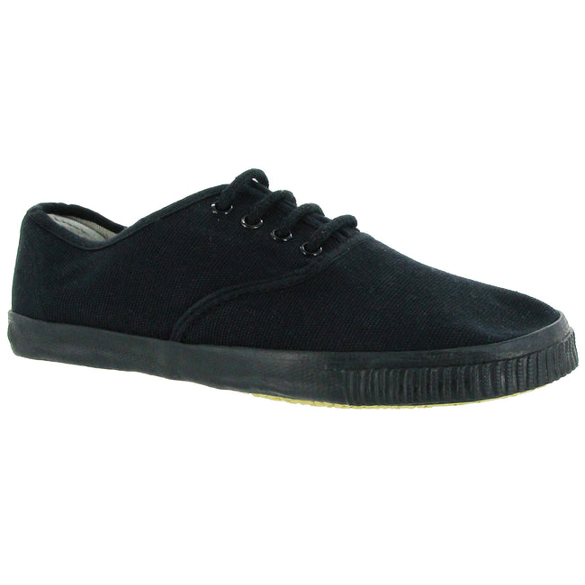 BLACK - Back - Mirak Mono Black Lace Plimsoll - Womens Trainers