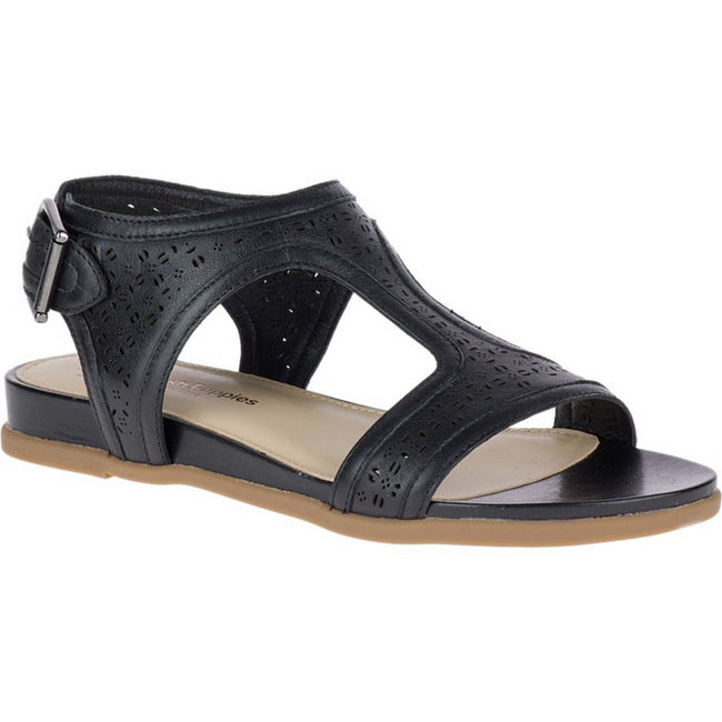 Black - Front - Hush Puppies Womens-Ladies Dalmatians T Strap Leather Sandal